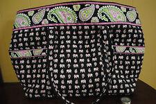 Vera Bradley PINK ELEPHANTS SUPER TOTE Gym, carry on, baby, carry all EUC  Rare