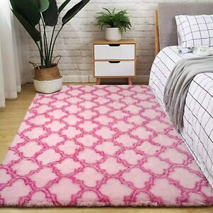 Pink Moroccan Big Area Rug Plush Fluffy Rugs for Living Room Girls Bedroom 5X8ft
