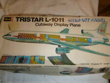 A vintage Revell plastic kit of a Lockheed  Tri-Star l-1011 Airliner, cut away