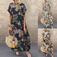 ZANZEA Women Batwing Sleeve Floral Maxi Dress Summer Retro Kaftan Sundress Plus