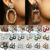 2019 Women Fashion Geometric Leopard Snake Print Leather Drop Earrings Jewelry