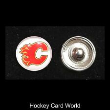 (HCW) Calgary Flames NHL Snap Ginger Button Jewelry for Jackets, Bracelets