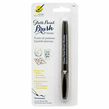 Color Factory Glass Paint Brush Marker, Permanent Color, Black