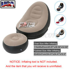 Adult Kids Large Inflatable Lounge Chair Ottoman Set Sofa Footrest Travel Home