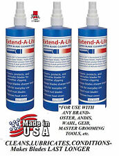 3 -EXTEND-A-LIFE CLIPPER BLADE RINSE CLEANER SPRAY Lube*For ANY Oster,Andis,Wahl