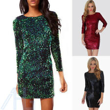 2017 Women Christmas V Back Long Sleeve Stretch Sequin Bodycon Party Mini Dress