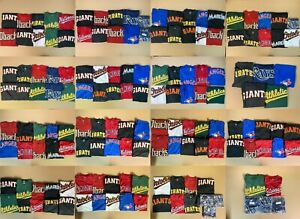 Lot (50) Majestic Assorted Resale Graphic Team Shirts Crew Henley Coolbase NWOT2
