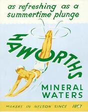 Haworths Mineral Waters (soda) Cardboard Counter Sign  Nelson U.K. Since 1897