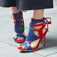 Women Buckle Stiletto Lace Up High Heel Peep Toe Lace Up Sandal Cut Out Shoes