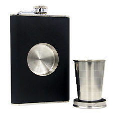 Flask Collapsible SHOT GLASS Stainless Steel Screw Cap Hip Pocket Travel Size