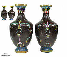 Antique Pair Chinese Qing Dynasty Cloisonne Enamel Vases