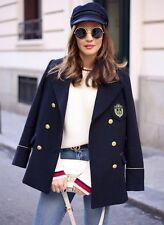 Zara azul marino estilo militar doble botonadura lana abrigo Talla M UK 10