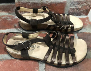 Haflinger Bronze Brown Strappy Leather Cork Sandals Shoes Women Size 37 (6.5-7)