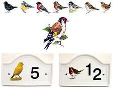 CARDELLINO Bird House Numero Porta Placca in ceramica casa segno QUALSIASI NUMERO
