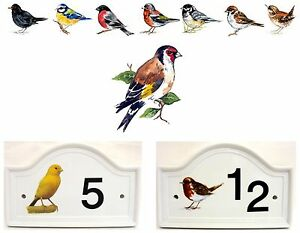 Goldfinch Bird House Door Number Plaque  Ceramic House Sign Any Number
