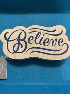 """""""BELIEVE""""  Wood Art by Here & There 7"""" x 3-1/2"""", New Inspiration Wood Decor"""
