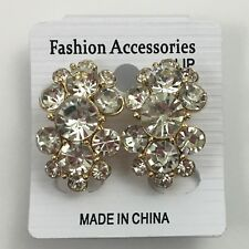 Clear Rhinestone Clip On Earrings Chunky Cluster Shiny Statement Elegant New
