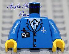 NEW Lego Male BLUE SUIT MINIFIG TORSO - Pilot Jacket w/White Shirt Tie & Badge