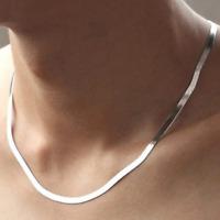 Schlangenkette Edelstahl 45 cm Kette flach Collier Damen Herren Halskette