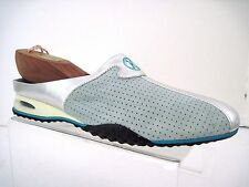 COLE HAAN Nike Air Mint Green Suede Metallic Silver Leather Trim Slides SZ 7.5 B