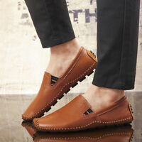 Men's Casual Oxfords Driving Leather Shoes Moccasin Peas Loafers Slip On Flats