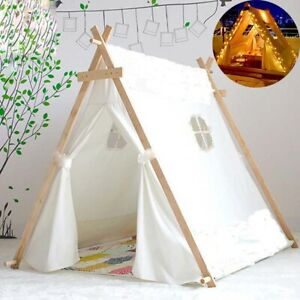 Kids Play Teepee Tent Children Playhouse Outdoor Indoor Party Canvas Castle