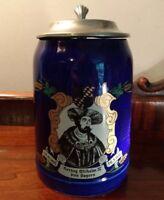 Herzog Wilhelm IV von Bayern Portrait Mug Cobalt Blue German Beer Stein Pewter