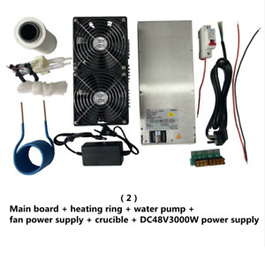 2500W ZVS Induction Heater Board + heating coil + Crucible + Water Pump + Power