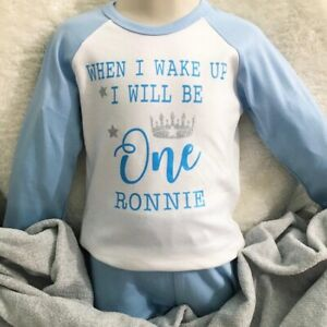 Personalised First Birthday Pyjamas Baby Boy When I Wake Up I Will Be One PJ's