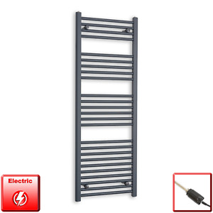 500mm Wide 1400mm High Flat Anthracite Pre-Filled Electric Towel Rail Radiator