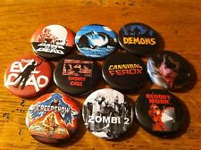 10 badges 25mm The Evil Dead Demons Zombie Cannibal Ferox Dawn of Creepshow gore