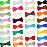DQT Premium Satin Solid Plain Wedding Adjustable Pre-Tied Men's / Boys Bow Tie