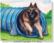 Belgian Shepherd Tervuren Dog Agility Tunnel Sport OE Art Print Berger Belge