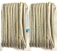 """(2) Gold/White Double Braided 3/8""""x15' ft HQ Boat Marine DOCK LINES Mooring Rope"""
