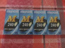 LOT DE 4 CASSETTES VHS MAXELL M 240 MINUTES