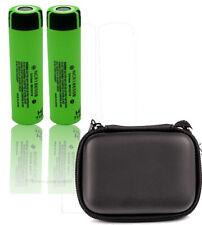 2 x Panasonic ncr18650b li-Ione Batteria 3,7v 3400mah con Zipper Case Nera