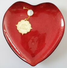Red Glitter Heart Shaped Serving Candy Dish Bowl Valentine's Day Made In Turkey