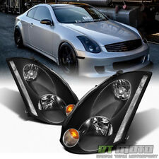 Black For 2003-2005 G35 Coupe [HID Model] Headlights Headlamps 03-05 Left+Right