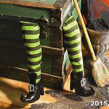 "Deluxe Plush Witch Legs Green and Black with Shoes (2 pcs. per set. 27"". )"