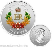 2012 CANADA COLORED 50-CENTS COIN - QUEEN ELIZABETH II DIAMOND JUBILE 1952-2012