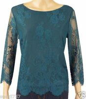 New Ex Coast Ladies Teal Lace Floral 3/4 Sleeve Formal Party Top Size  6 - 18