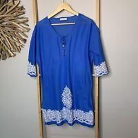 Beaches & Dream Blue Beach Kaftan Top Dress Women's One Size (Suits S - L ) Boho