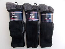 Izod Made In USA Crew Socks Black With Gray Bottom 6 Pairs Shoe Size 8-11