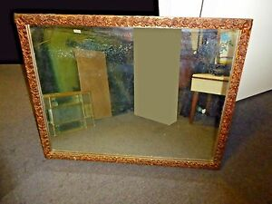 Old Vintage French Provincial Gold Floral Rectangle Wall Mantle Mirror