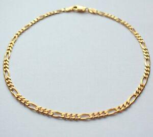 "Bracelet Chain 9.5"" Gold 9ct Figaro Mens Boys Ladies Unisex Jewellery"