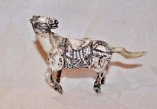 Chinese Asian Carved Bone HORSE snuff bottle box; removable tail stopper & spoon