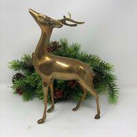 "Vintage Brass Deer Doe Buck Reindeer Christmas Decor 10"""