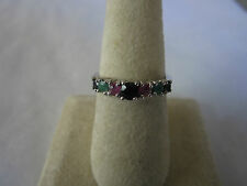 Gorgeous 7 stone Sterling Silver Ruby Emerald Black Sapphire ring 925 silver sz8