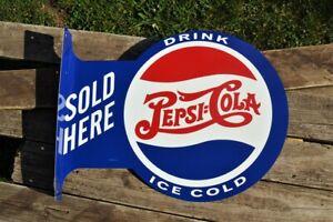 Pepsi-Cola Sold Here Tin Metal Flange Sign - Soda - Drink Ice Cold Pepsi