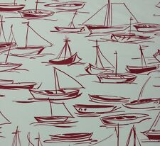 "DURALEE SEABREEZE RED D4125 SAIL BOAT MULTIPURPOSE COTTON FABRIC BY YARD 54""W"